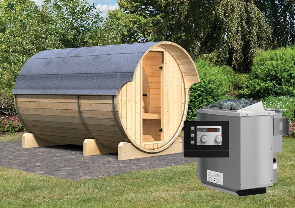 fass sauna 3 2 16 x 3 30 m 42 mm mit 9 kw ofen. Black Bedroom Furniture Sets. Home Design Ideas