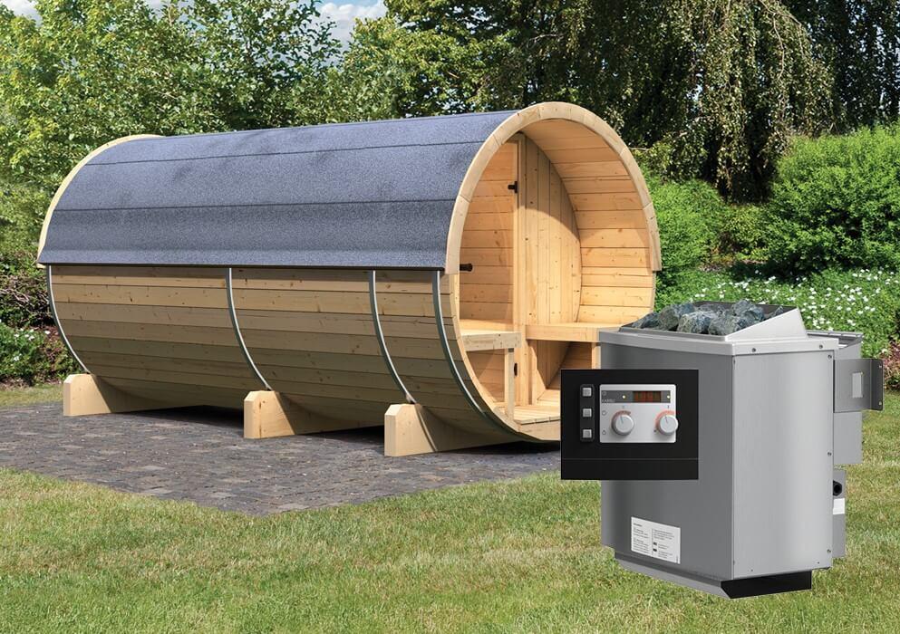 fasssauna 4 mit 9 kw ofen und vorraum 2 16 x 4 00 m 42 mm. Black Bedroom Furniture Sets. Home Design Ideas
