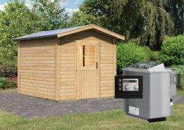 Gartensauna BOSSE 2 mit Vorraum 2,31 x 3,99 m 38 mm mit 9 kW Ofen 9.0 kW Bio-Kombiofen ext. Steuerung