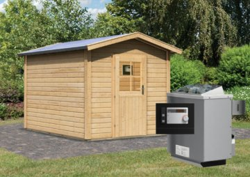 Gartensauna BOSSE 2 mit Vorraum 2,31 x 3,99 m 38 mm mit 9 kW Ofen 9.0 kW Ofen ext. Steuerung