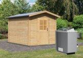 Gartensauna BOSSE 2 mit Vorraum 2,31 x 3,99 m 38 mm mit 9 kW Ofen 9.0 kW Ofen integr. Steuerung