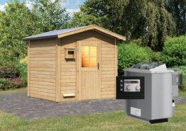 Gartensauna BOSSE 2,31 x 1,96 m 38 mm mit 9 kW Ofen 9.0 kW Bio-Kombiofen ext. Steuerung