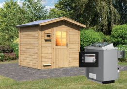 Gartensauna BOSSE 2,31 x 1,96 m 38 mm mit 9 kW Ofen 9.0 kW Ofen ext. Steuerung