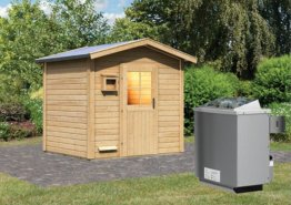 Gartensauna BOSSE 2,31 x 1,96 m 38 mm mit 9 kW Ofen 9.0 kW Ofen integr. Steuerung