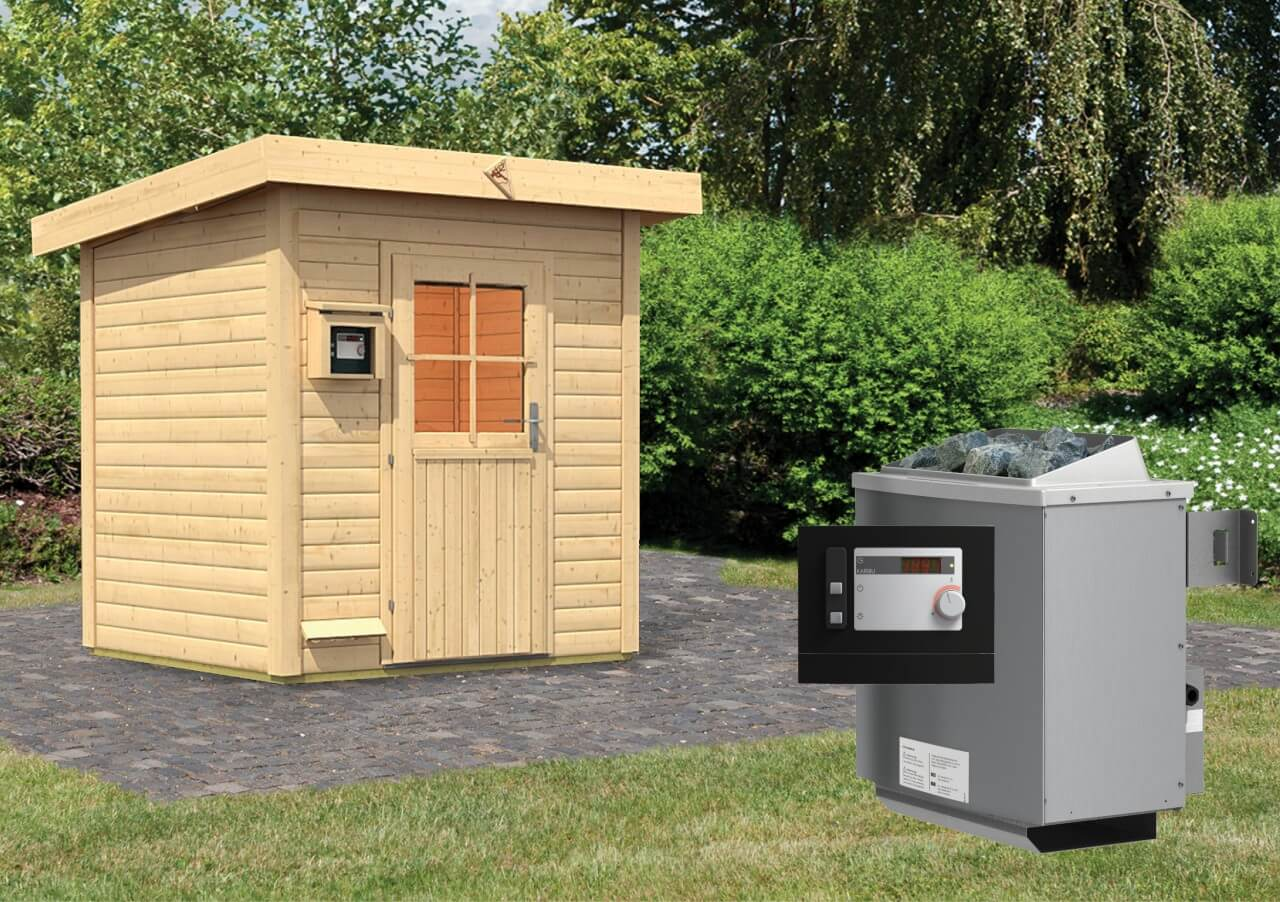 gartensauna haakon 1 96 x 1 70m 38 mm mit 9 kw ofen ext. Black Bedroom Furniture Sets. Home Design Ideas