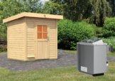 Gartensauna HAAKON 1,96 x 1,70 m 38 mm mit 9 kW Ofen 9.0 kW Ofen integr. Steuerung