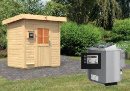 Gartensauna JORGEN 1,96 x 1,46 m 38 mm mit 9 kW Ofen 9.0 kW Bio-Kombiofen ext. Steuerung