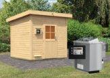 Gartensauna KROGE 2,31 x 2,31 m 38 mm mit 9 kW Ofen 9.0 kW Bio-Kombiofen ext. Steuerung