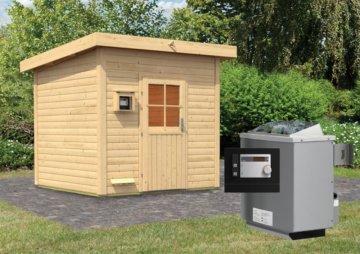 Gartensauna KROGE 2,31 x 2,31 m 38 mm mit 9 kW Ofen 9.0 kW Ofen ext. Steuerung