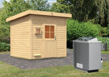 Gartensauna KROGE 2,31 x 2,31 m 38 mm mit 9 kW Ofen 9.0 kW Ofen integr. Steuerung