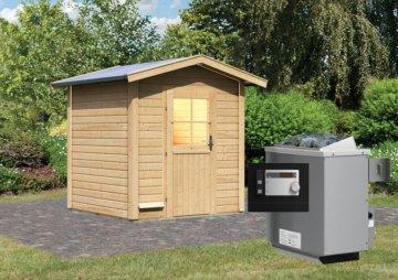 Gartensauna LASSE 1,96 x 1,96 m 38 mm mit 9 kW Ofen 9.0 kW Ofen ext. Steuerung