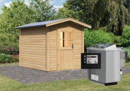 Gartensauna LASSE mit Vorraum 1,96 x 2,73 m 38 mm mit 9 kW Ofen 9.0 kW Bio-Kombiofen ext. Steuerung