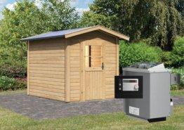 Gartensauna LASSE mit Vorraum 1,96 x 2,73 m 38 mm mit 9 kW Ofen 9.0 kW Ofen ext. Steuerung