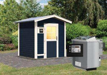 Gartensauna LASSE opalgrau 1,96 x 1,96 m 38 mm mit 9 kW Ofen 9.0 kW Bio-Kombiofen ext. Steuerung