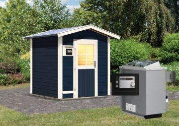 Gartensauna LASSE opalgrau 1,96 x 1,96 m 38 mm mit 9 kW Ofen 9.0 kW Ofen ext. Steuerung