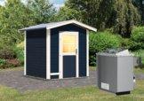 Gartensauna LASSE opalgrau 1,96 x 1,96 m 38 mm mit 9 kW Ofen 9.0 kW Ofen integr. Steuerung