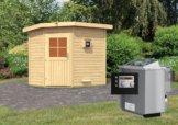 Gartensauna MIKKA 2,31 x 1,96 m 38 mm mit 9 kW Ofen 9.0 kW Bio-Kombiofen ext. Steuerung