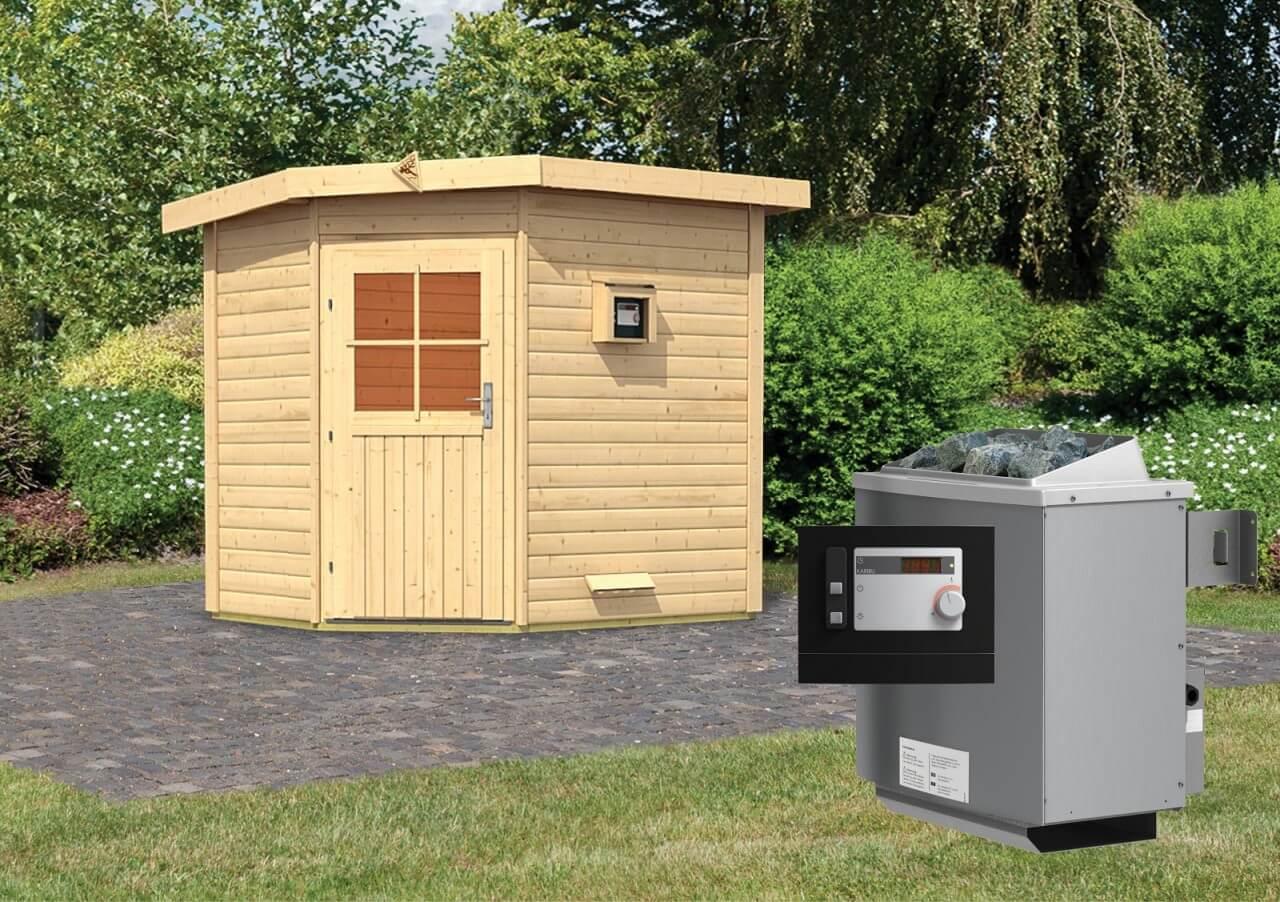 gartensauna mikka 2 31 x 1 96 m 38 mm mit 9 kw ext steuerung. Black Bedroom Furniture Sets. Home Design Ideas