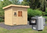 Gartensauna NORGE 2,31 x 1,96 m 38 mm mit 9 kW Ofen 9.0 kW Bio-Kombiofen ext. Steuerung