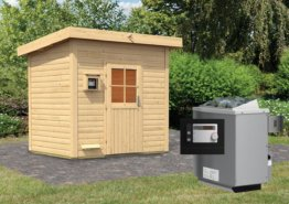 Gartensauna NORGE 2,31 x 1,96 m 38 mm mit 9 kW Ofen 9.0 kW Ofen ext. Steuerung