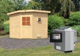 Gartensauna PEKKA 1,96 x 1,96 m 38 mm mit 9 kW Ofen 9.0 kW Bio-Kombiofen ext. Steuerung