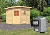 Gartensauna PEKKA 1,96 x 1,96 m 38 mm mit 9 kW Ofen 9.0 kW Ofen ext. Steuerung