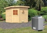 Gartensauna PEKKA 1,96 x 1,96 m 38 mm mit 9 kW Ofen 9.0 kW Ofen integr. Steuerung
