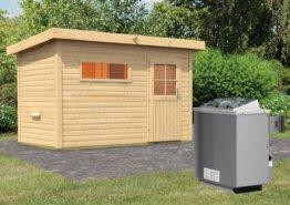 Gartensauna SKROLLAN 1 3,37 x 1,96 m 38 mm mit 9 kW Ofen