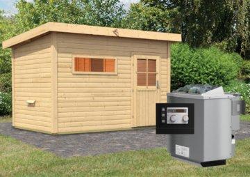 Gartensauna SKROLLAN 2 3,37 x 2,31 m 38 mm mit 9 kW Ofen