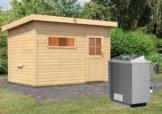 Gartensauna SKROLLAN 2 3,37 x 2,31 m 38 mm mit 9 kW Ofen 9.0 kW Ofen integr. Steuerung