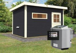 Gartensauna SKROLLAN 2 opalgrau 3,37 x 2,31 m 38 mm mit 9 kW Ofen