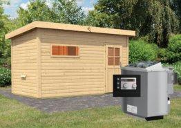 Gartensauna SKROLLAN 3 mit Vorraum 4,29 x 2,62 m 38 mm mit 9 kW Ofen 9.0 kW Bio-Kombiofen ext. Steuerung