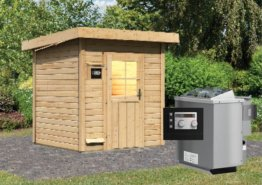 Gartensauna TORGE 1,96 x 1,96 m 38 mm mit 9 kW Ofen 9.0 kW Bio-Kombiofen ext. Steuerung
