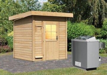 Gartensauna TORGE 1,96 x 1,96 m 38 mm mit 9 kW Ofen 9.0 kW Ofen integr. Steuerung