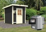 Gartensauna TORGE opalgrau 1,96 x 1,96 m 38 mm mit 9 kW Ofen 9.0 kW Bio-Kombiofen ext. Steuerung