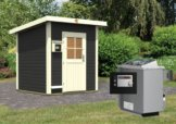 Gartensauna TORGE opalgrau 1,96 x 1,96 m 38 mm mit 9 kW Ofen 9.0 kW Ofen ext. Steuerung
