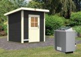 Gartensauna TORGE opalgrau 1,96 x 1,96 m 38 mm mit 9 kW Ofen 9.0 kW Ofen integr. Steuerung