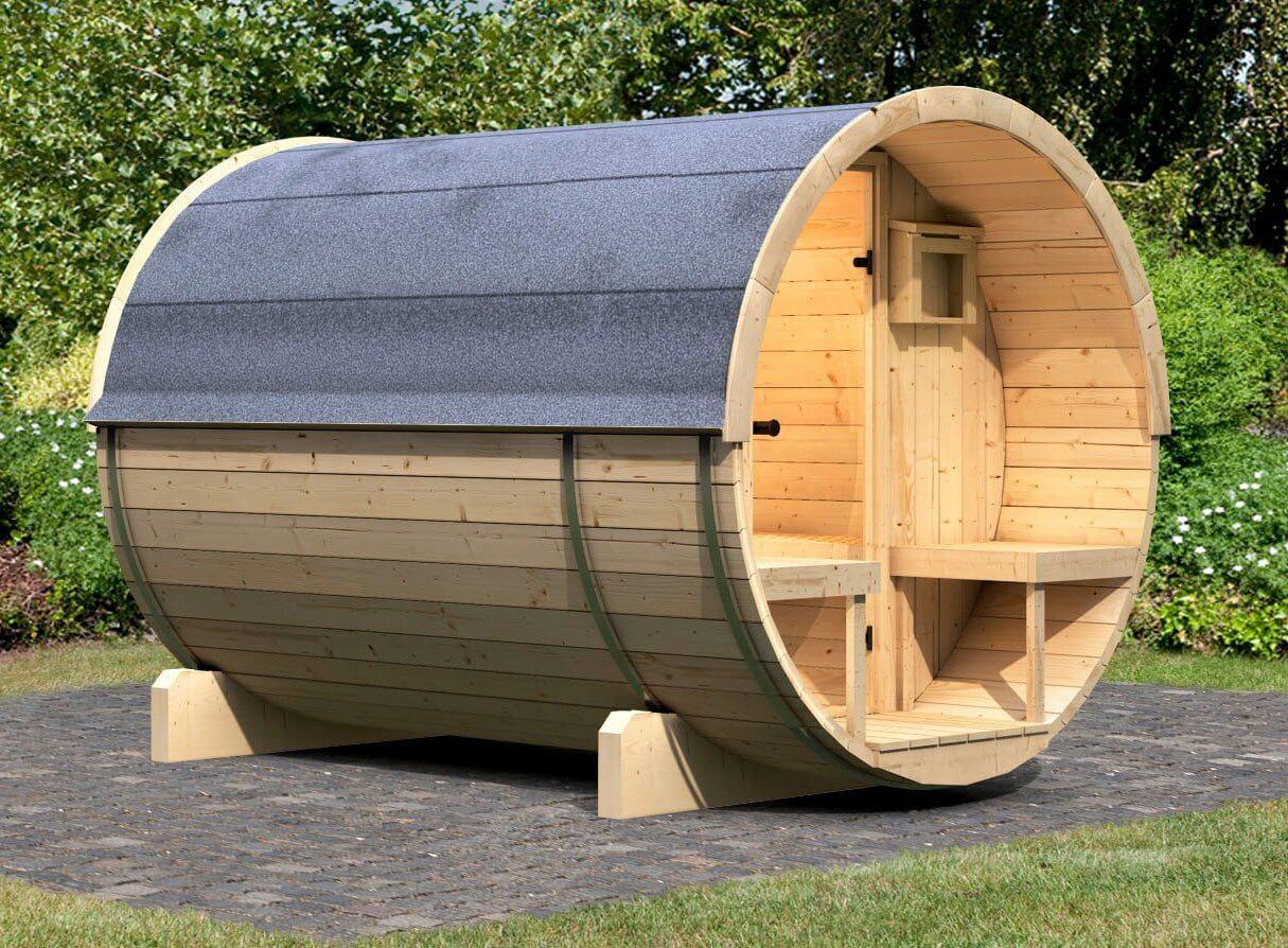 karibu fasssauna pontus 2 205 273 216 cm ohne ofen. Black Bedroom Furniture Sets. Home Design Ideas