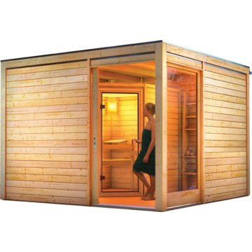 saunahaus cubus eck 2 3 20 x 3 20 m mit sauna mia. Black Bedroom Furniture Sets. Home Design Ideas