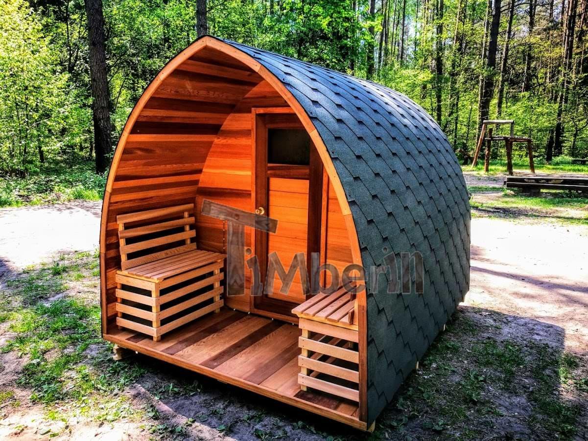 Aussensauna Iglu mit Elektroofen und Veranda Red Cedar TimberIN