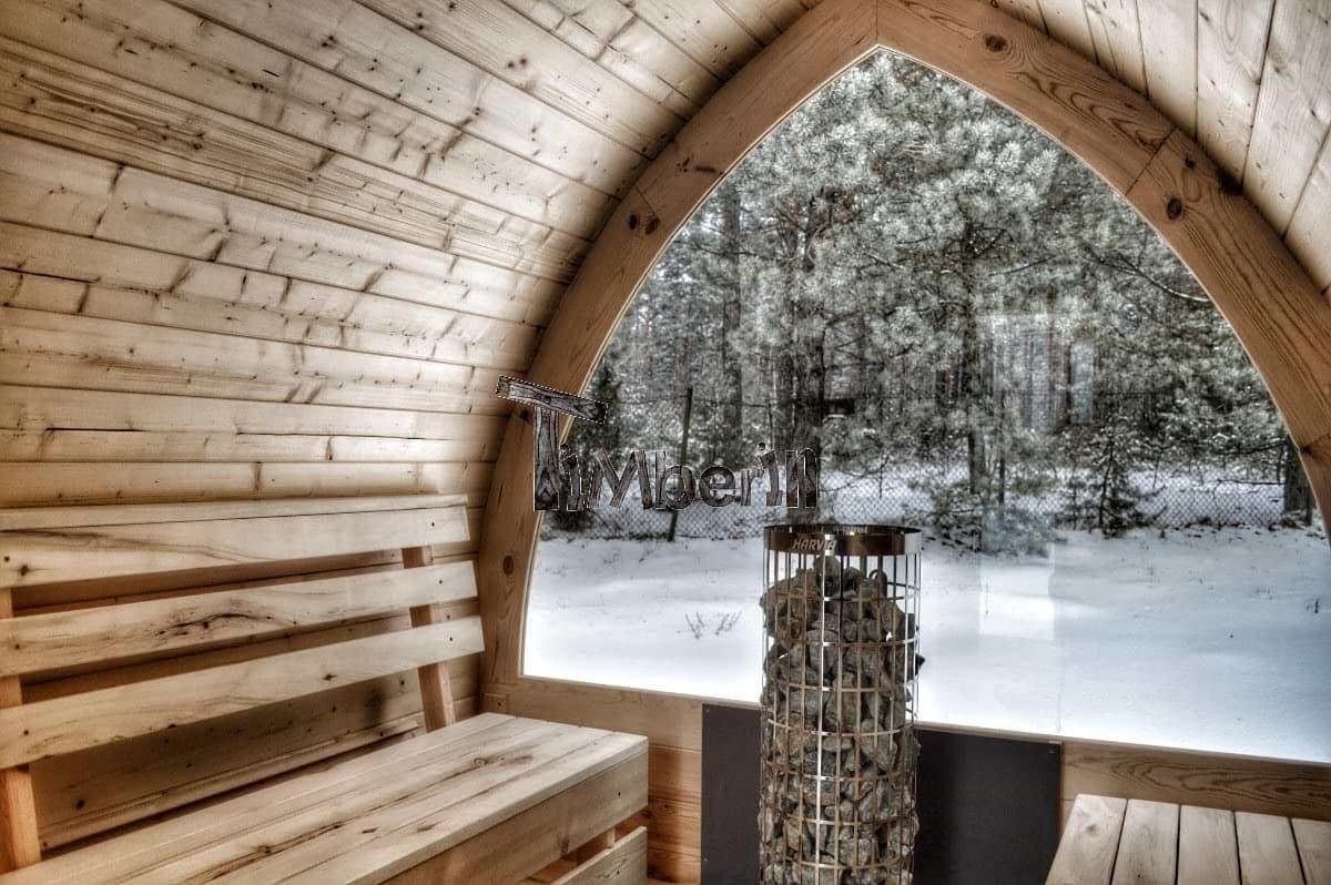 Aussensauna Iglu von innen mit vollem Panoramafenster TimberIN