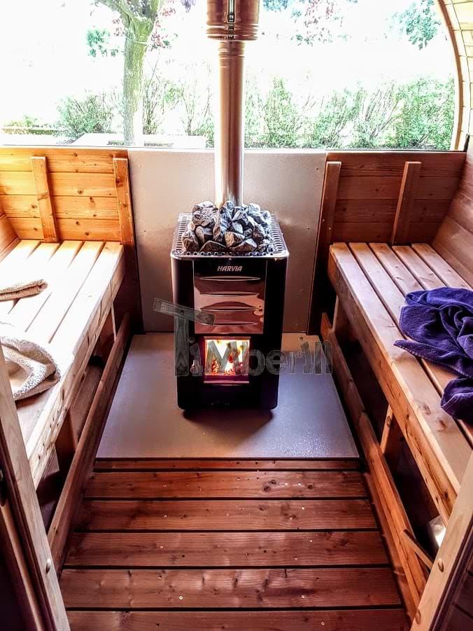 fasssauna rund von innen mit halbem panoramafenster timberin. Black Bedroom Furniture Sets. Home Design Ideas