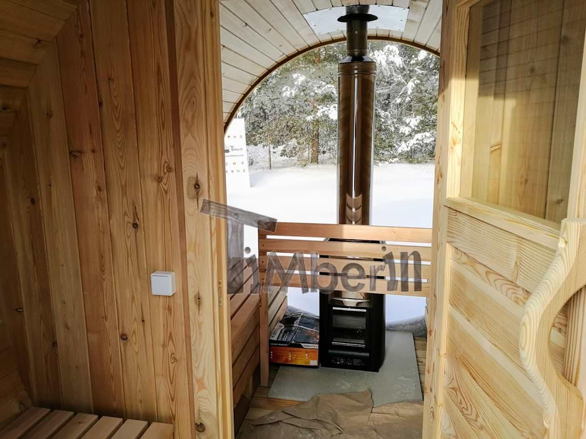 fasssauna rund von innen mit vollem panoramafenster timberin. Black Bedroom Furniture Sets. Home Design Ideas