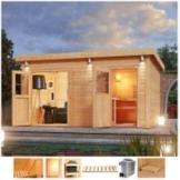 Karibu Saunahaus »Matz«, BxTxH: 426 x 276 x 226 cm, 38 mm, 9-kW-Ofen mit ext. Steuerung, Vorraum