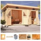 Karibu Saunahaus »Matz«, BxTxH: 426 x 276 x 226 cm, 38 mm, 9-kW-Ofen mit int. Steuerung, Vorraum