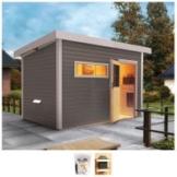 Karibu Saunahaus »Uwe 2«, BxTxH: 336 x 231 x 226 cm, 38 mm, 9-kW-Bio-Ofen mit ext. Steuerung