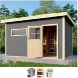 Karibu Saunahaus »Uwe 3«, BxTxH: 396 x 231 x 226 cm, 38 mm, 9-kW-Bio-Ofen mit ext. Steuerung