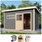 Karibu Saunahaus »Uwe 3«, BxTxH: 396 x 231 x 226 cm, 38 mm, 9-kW-Ofen mit ext. Steuerung
